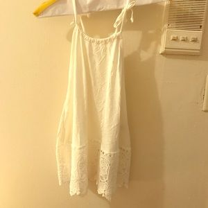 White Strappy Tank Top with Lace Hem